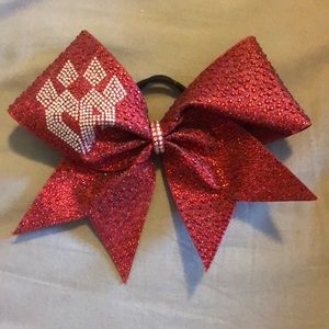 Red cheer Athletics Panthers competition bow